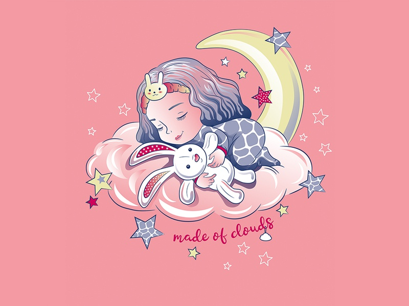 Sleeping Girl on the moon