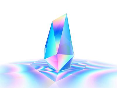 WebGL Crystal Sculpture html css js iridescent art gsap motion live interactive creative 3d animation realtime 3d art 3d three.js threejs webgl