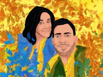 Autumn couple yellow flower couple happy procreate color fun ilustration vector