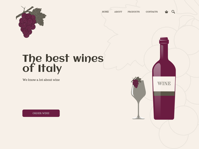 Wine Website Concept illustration vector web design design