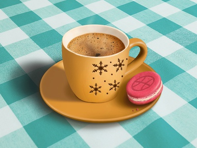 Cup of coffee? illustration cup coffee macaroon dribbble