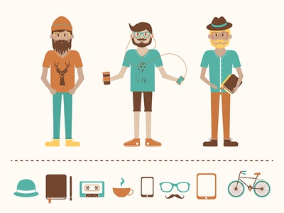 Hipstaboys icon illustration vector hipster