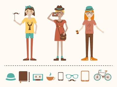 Hipstagirls icon illustration vector hipster