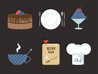 Icons for cooking website cake dessert recipe book cup