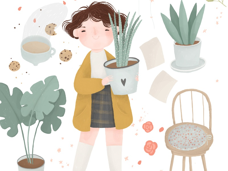 Plant Lady hufflepuff outfit plant lady plant illustration girl coffee