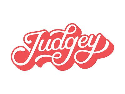 Judgey Logo 3d script hand lettering lettering
