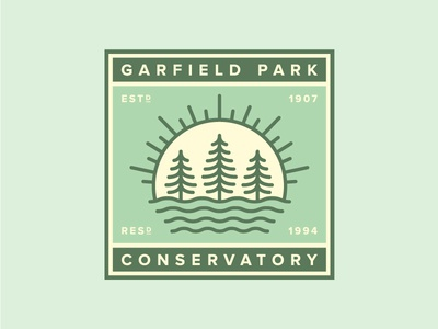 Garfield Park Conservatory sun tree chicago illustration vector icon patch badge conservatory park garfield