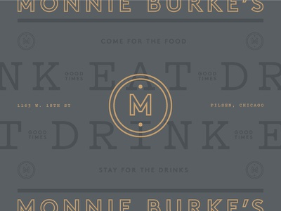 Monnie Burke's 02 drink eat gold gray branding logo mark monogram m chicago restaurant