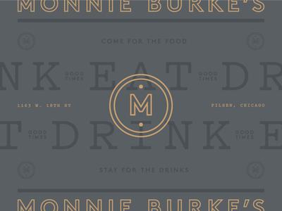 Monnie Burke's 02 drink eat gold gray branding logo mark monogram m chicago restaurant