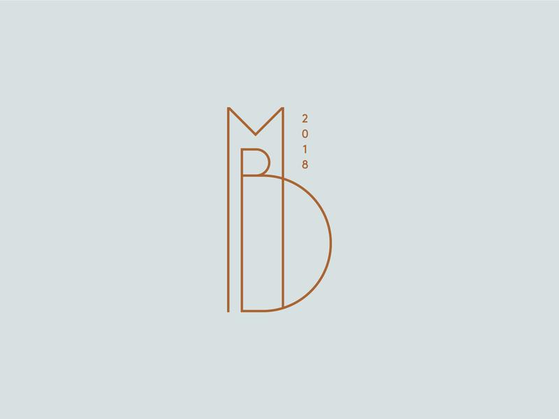 Monnie Burke's 05 monoline logo b m 2018 copper monogram identity branding blue