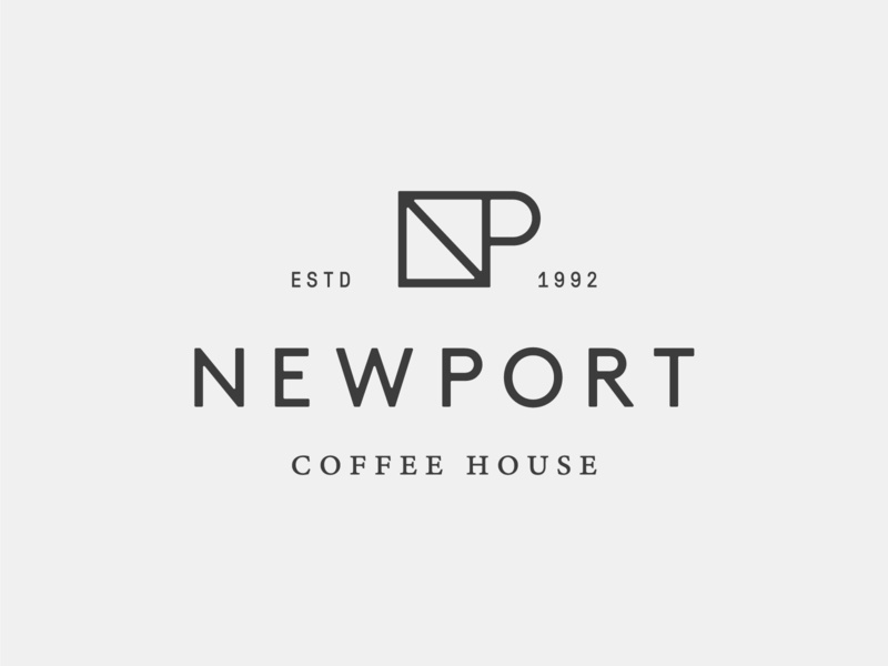 Newport Coffee House monogram p n minimal branding logo house coffee newport