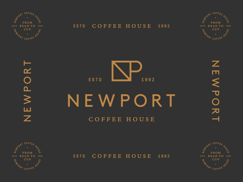 Newport Coffee House 03 house coffee black copper seal mark logo identity brand