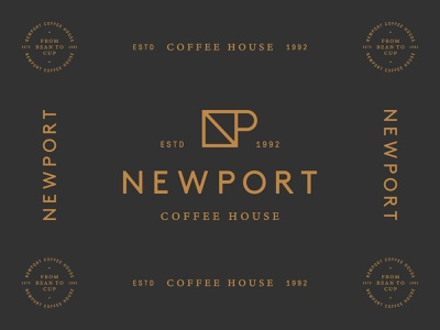 Newport Coffee House 03 house coffee black copper seal mark logo identity brand
