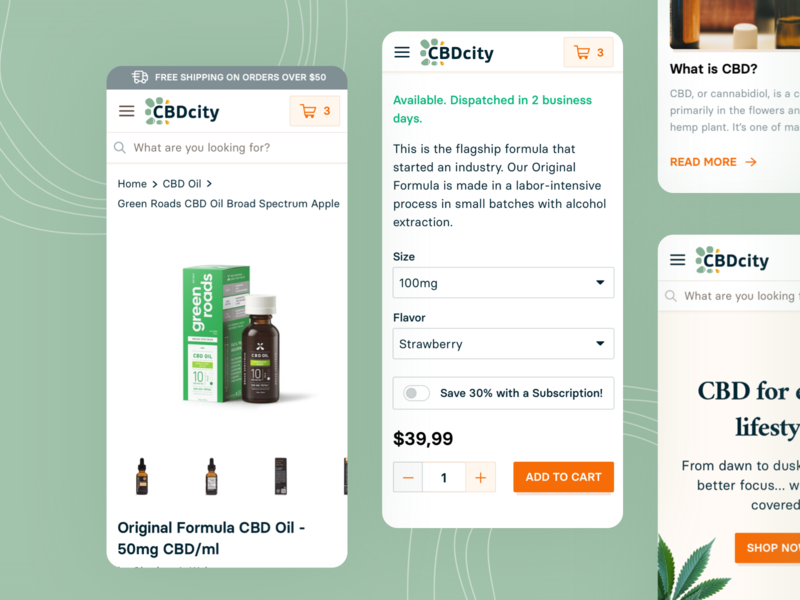 CBDcity • Product Detail buy screens mobile webdesign uiux shopify product page product detail online shopping ecommerce shop ecommerce design ecommerce business ecommerce cbd