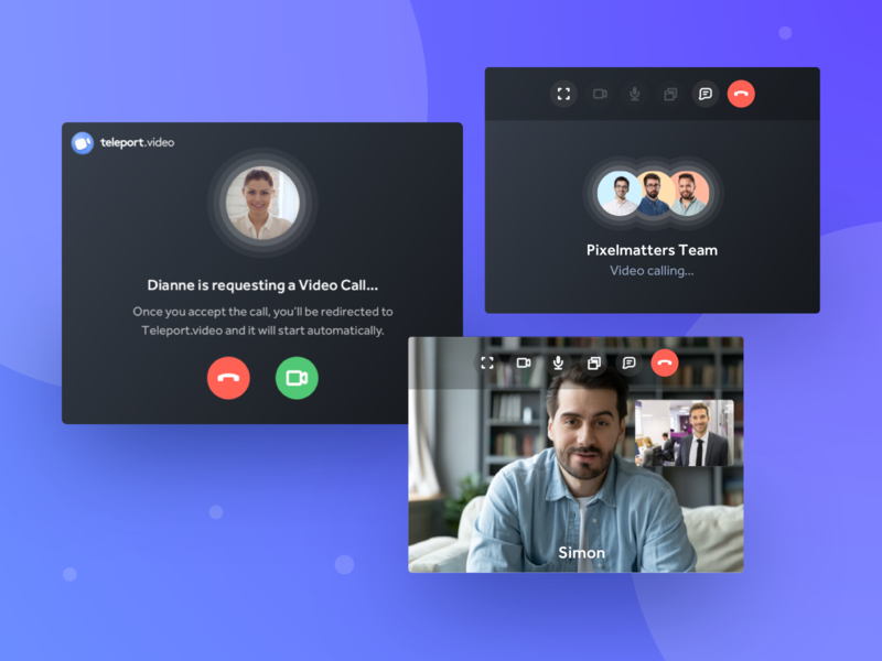 Teleport.Video • Video Widget Component ui design ux design ux ui design ios app webapp webapp design remote remote work collaboration telecommunications telecommunication video conferencing video conference video case study case studies