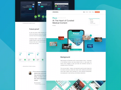 Medit • Case Study Page landing showcase pixelmatters work ui ux mobile health medicine healthcare product design ios app case study case studies