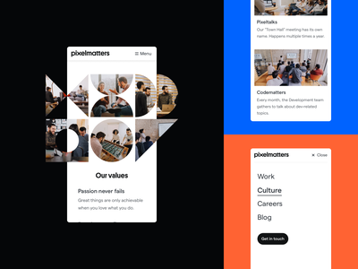 Pixelmatters • Culture restyle about us flat design ui company about work minimal photography team culture brand branding brand identity company branding
