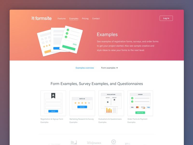 Formsite Examples gradient marketing picture fields clean ui red forms icon illustration examples flat