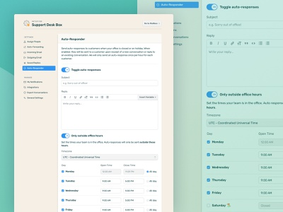 DoneDone 2 • Mailbox Setup clean webapplication webapp app mailbox wysiwyg flow forms email toggle management setup schedule product illustration overview analytics pastel fun minimal