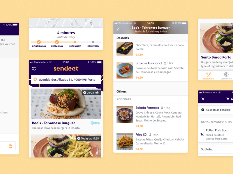 SendEAT • iOS App mobile app mobile ui ui product profile search deliver burgers continente restaurants clean tracker send sendeat delivery food iphone mobile app ios