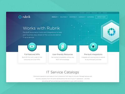 Rubrik • API Integration Page marketing color ui  ux ui ui designs ux ui design ux design cloud data management cloud data design product minimal clean