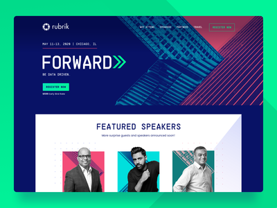 Rubrik Forward design conference marketing site marketing color cloud web design website