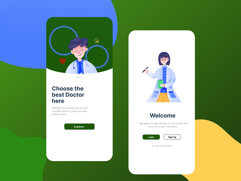 Landing Page OKEDOC App type design animation ui ux website typography illustration flat app