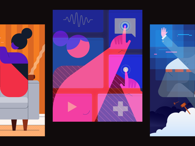 State of Customer Engagement 2021 Illustrations work from home fintech saas 2020 trends 2020 trend 2020 covid 19 covid-19 covid19 covid grid minimalism simple minimal character geometric poster twilio illustration tech