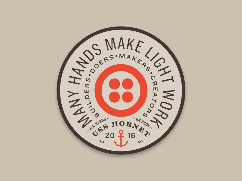 Twilio All Hands Sticker ship nautical anchor sticker patch circle vintage type typography
