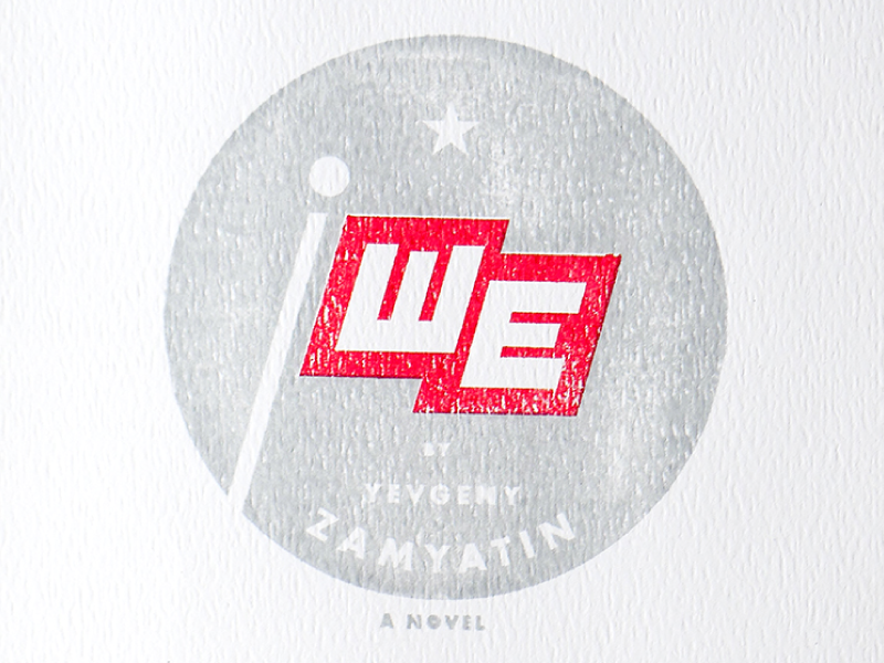 We, Yevgeny Zamyatin typography illustration book cover 1984 dystopia communism literature book soviet russia
