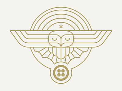 Twilio Superb Owl 2018 pin wings geometric simple line owl illustration