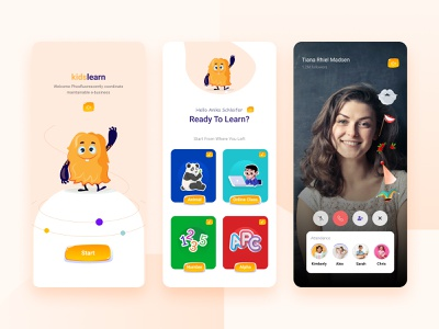 Kids e-learning App #Daily Challenge funny illustration kid e-learning application ui figma