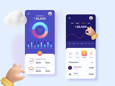 Daily challenge Banking/Finance app Screen finance app bankingapp design ui application xd design