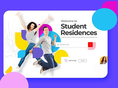 Student Hostel hostel student uidesign landing page design homepage website concept website design