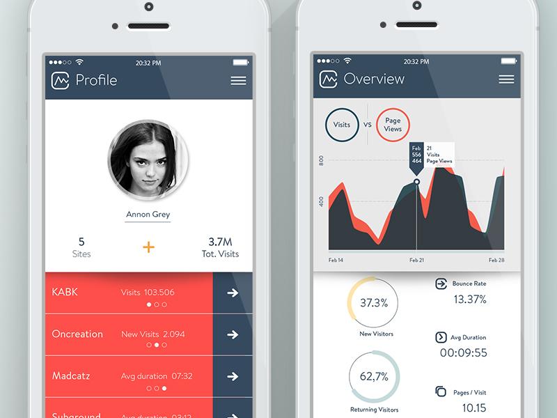 Soft Analytics ui ux analytics webanalytics graph profile
