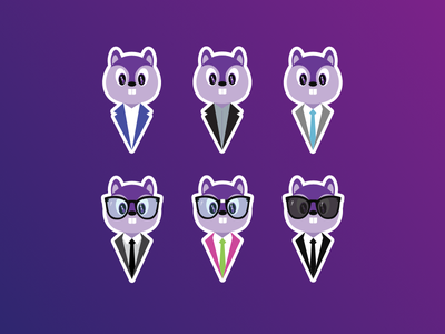 Purple Squirrel – Stickers Illustrations design illustrations squirrel stickers icons illustration