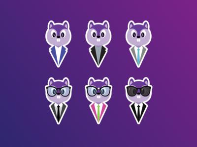 Purple Squirrel – Stickers Illustrations design illustrations squirrel stickers icons illustration
