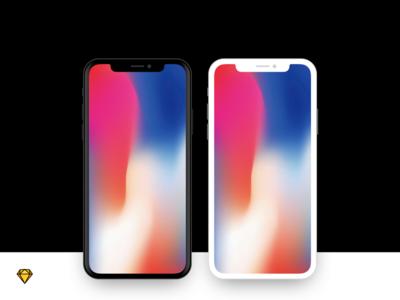 iPhone X - Flat Device Mockup mockup sketch free download iphone x