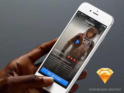 Movie App UI Sketch freebie sketch ui cinema download free movie ios app application freebie iphone apple