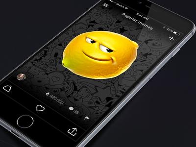 Lemon App application mobile interface jokes ux android ios fun memes app