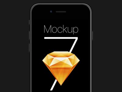 Free iPhone 7 Sketch Mockup ios apple iphone 7 iphone7 download sketch iphone freebie