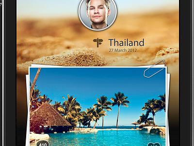 iPhone App interface freebie ui mobile iphone photo travel application profile weheartpics pics interface russia moscow ios bar app design