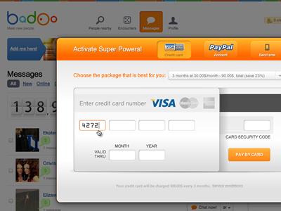 Badoo Payment Form badoo payment form interface ui credit card