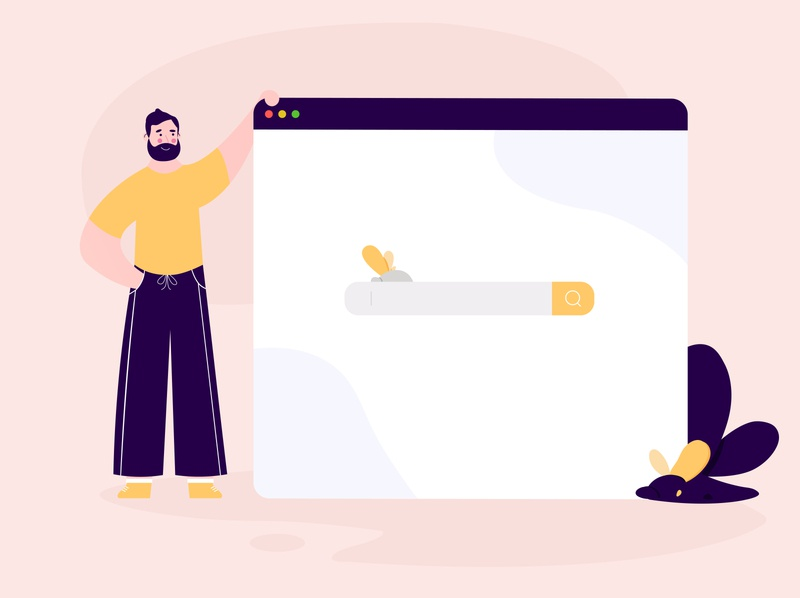 Browser tab flat illustration