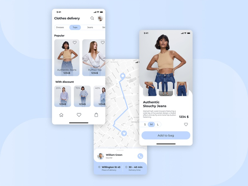 Clothes DeliveryApp minimal flat app design ui ux