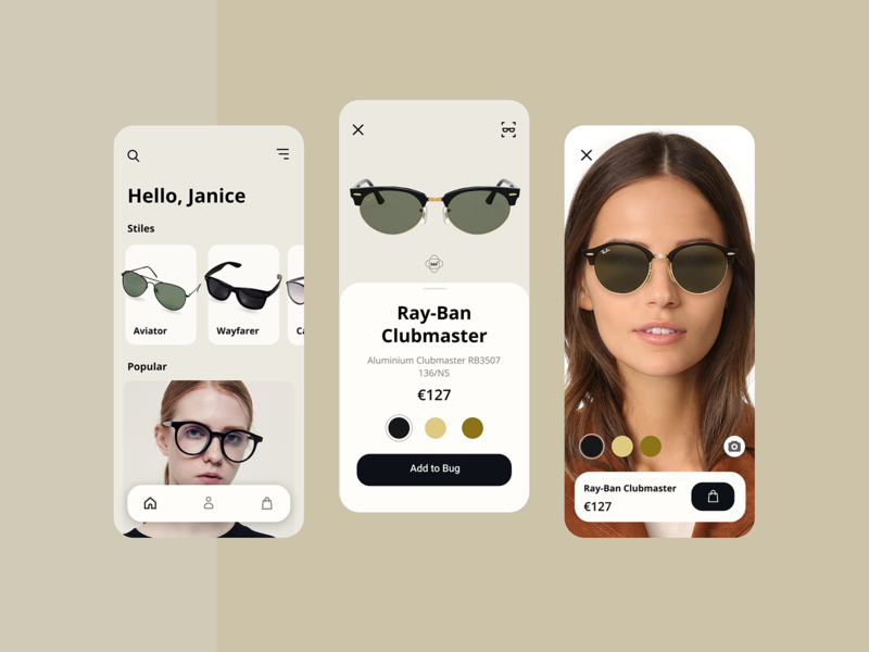 AR - Glass Store online store virtual reality augmented reality ecommerce 3d store glasses interface figma app concept minimal design app ux ui flat