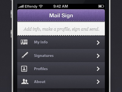 Mail Sign Main Page UI iphone ui mail signature effendy ali user interface main page
