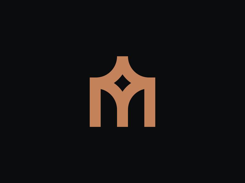 M Monogram V1 pillar star finance monogram islamic m letter typography branding effendy mark symbol identity logo