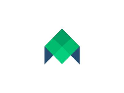 M + House + Arrow Logomark roof geometric logo tessellation typography identity symbol abstract branding monogram letter m home arrow house effendy logomark