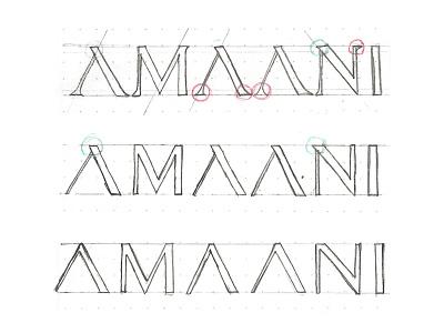AMAANI Process grid layout sketch thobes brand identity effendy menswear logotype wordmark construction process amaani branding typography luxury logo serif logo mens fashion identity classic minimal logo